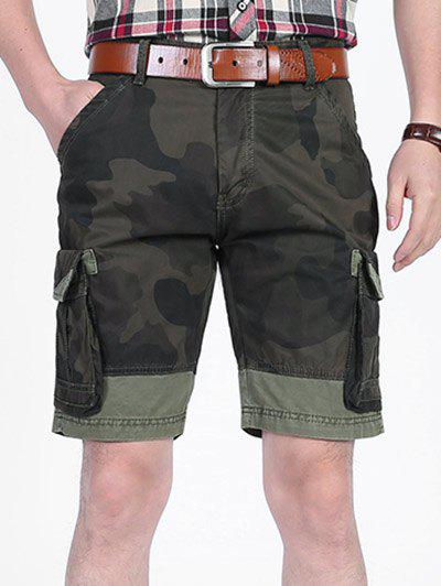 Camo Printed Six-pocket Cargo Shorts - CAMOUFLAGE GREEN 38