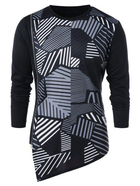 Asymmetric Zipper Embellished Geometric Print T-shirt - BLACK 2XL