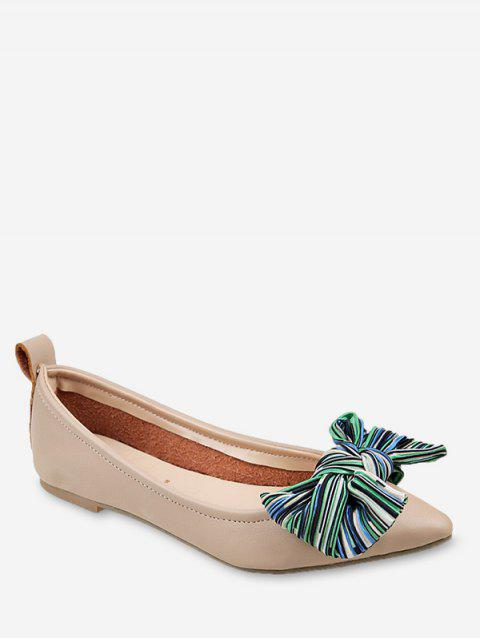 Leisure Pointed Toe Color Block Bow Embellished Flats - BEIGE 36