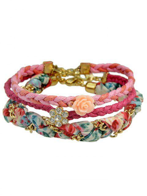 Flower Design Rhinestone Layered Bracelet - multicolor