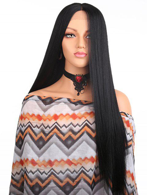 Middle Part Long Straight Lace Front Heat Resistant Synthetic Wig - BLACK