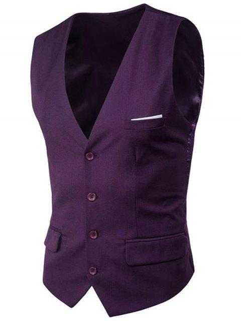 Modern Solid Color Fit Suit Separates Business Vest - PURPLE 3XL