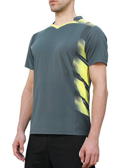 V Neck Geometric Print Fast Dry Breathable Activewear T-shirt - GRAYISH TURQUOISE 2XL