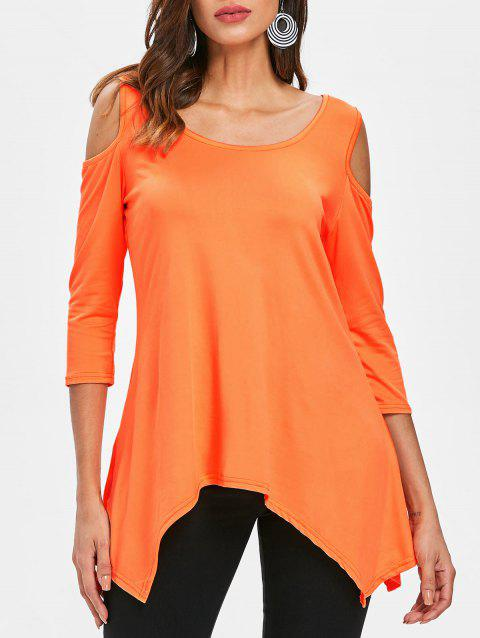 Asymmetrical Cold Shoulder T-shirt - ORANGE S