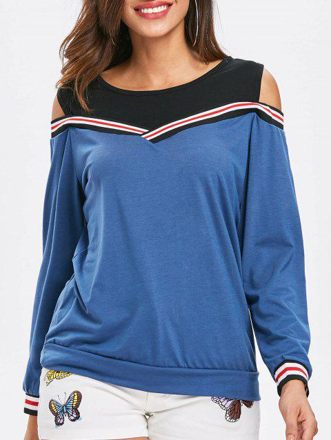 Cold Shoulder Striped Insert Sweatshirt - WINDOWS BLUE XL