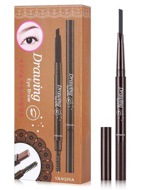 Double Ended Long Lasting Waterproof Rotate Eyebrow Pencil - GRAY