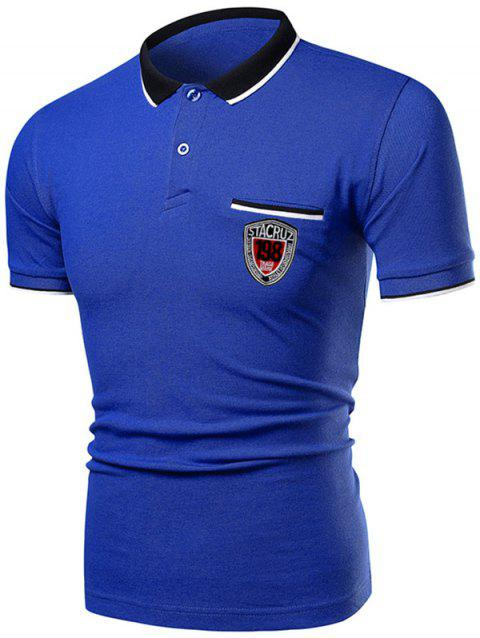 Polo Collar Striped Number Letter Casual Tee - SAPPHIRE BLUE XL