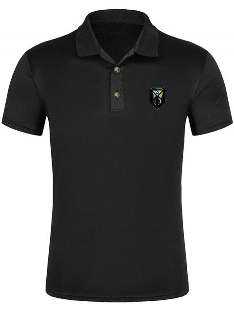 Short Sleeve Solid Color Applique Polo Shirt - BLACK 3XL