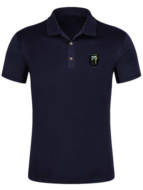 Short Sleeve Solid Color Applique Polo Shirt - DENIM DARK BLUE L