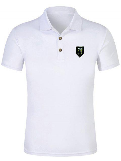 Short Sleeve Solid Color Applique Polo Shirt - WHITE M