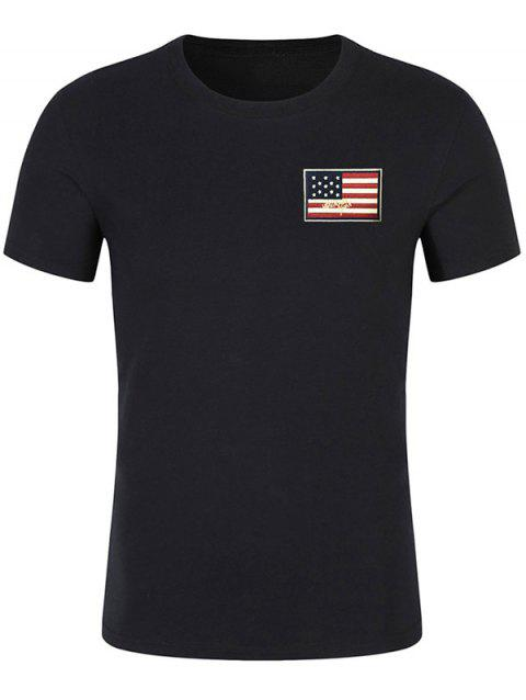 Short Sleeve Patriotic American Flag Panel Decorated Tee - BLACK M