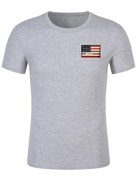 Short Sleeve Patriotic American Flag Panel Decorated Tee - BATTLESHIP GRAY L