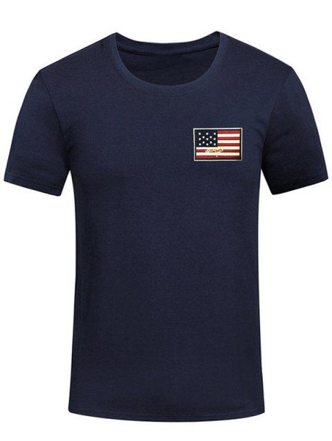 Short Sleeve Patriotic American Flag Panel Decorated Tee - MIDNIGHT BLUE XL
