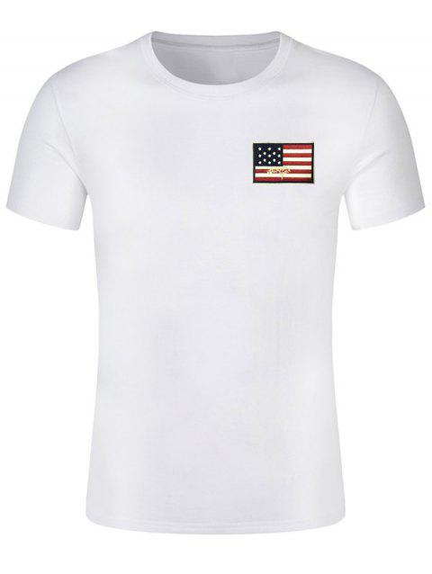 Short Sleeve Patriotic American Flag Panel Decorated Tee - WHITE L