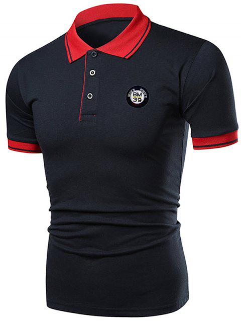 Applique Contrast Color Short Sleeve Polo T-shirt - DENIM DARK BLUE XL