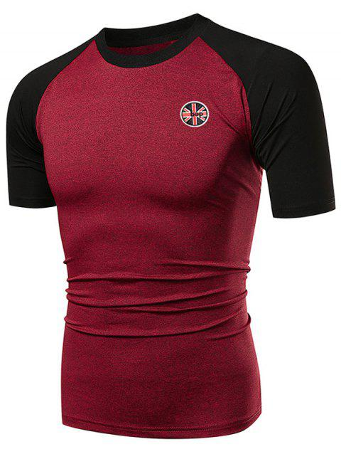 Applique Contrast Color Fast Dry Breathable Activewear T-shirt - RED WINE XL
