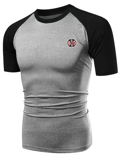 Applique Contrast Color Fast Dry Breathable Activewear T-shirt - GRAY CLOUD 2XL