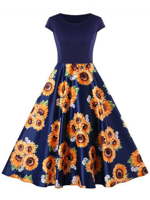 Sunflower Print Cap Sleeve A Line Dress - DEEP BLUE XL