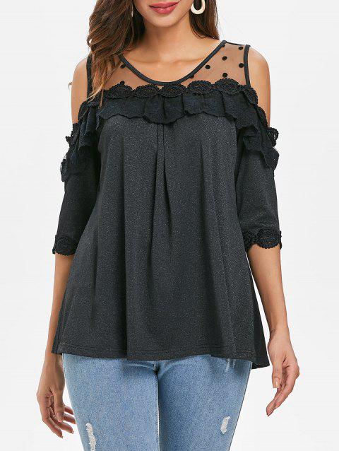 Shoulder Cut Lace Trim Swing Blouse - BLACK M