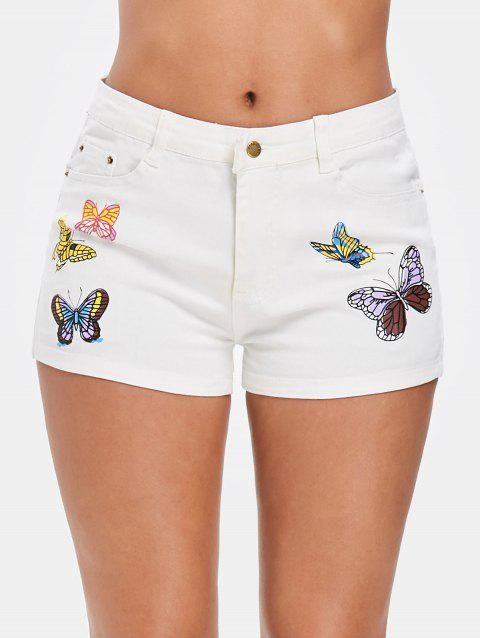 Denim Butterfly Print Shorts - WHITE L