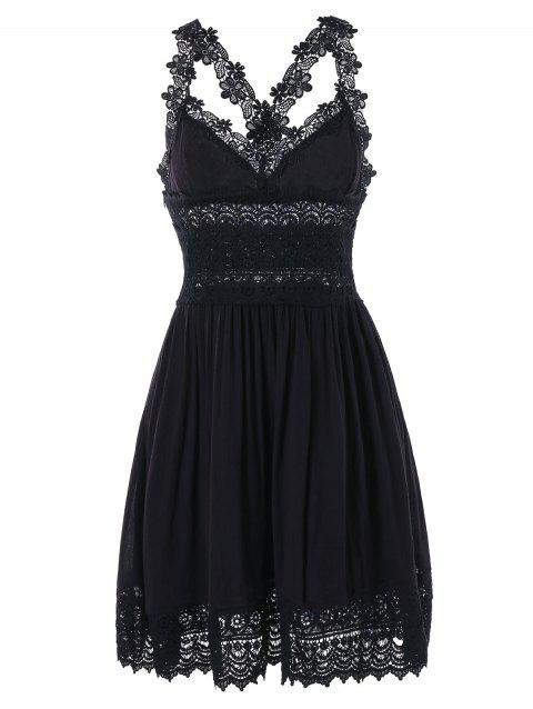 Lace Trim Backless Summer Dress - BLACK L