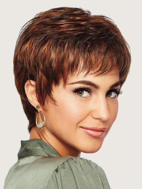 Short Neat Bang Colormix Straight Synthetic Wig - multicolor