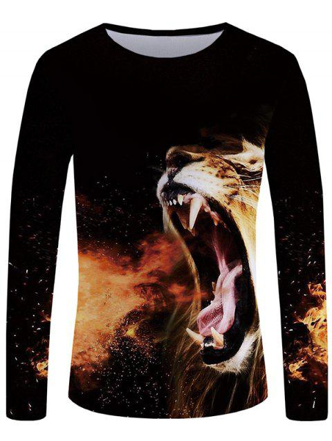 3D Roaring Lion Print Casual T-shirt - BLACK L