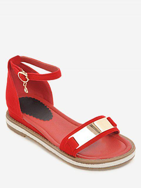 Plus Size Ankle Strap Buckled Leisure Vacation Sandals - RED 43