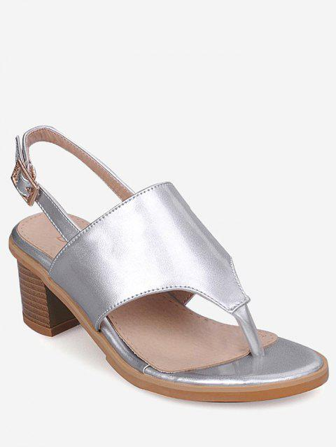 Plus Size Block Heel Chic Buckled Slingback Sandals - SILVER 39