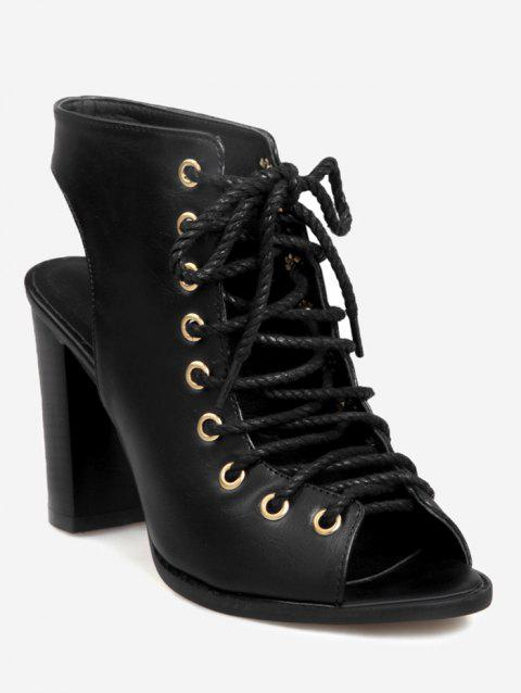 5eb465094d 74% OFF] 2019 Plus Size High Heel Chic Lace Up Cut Out Sandals In ...