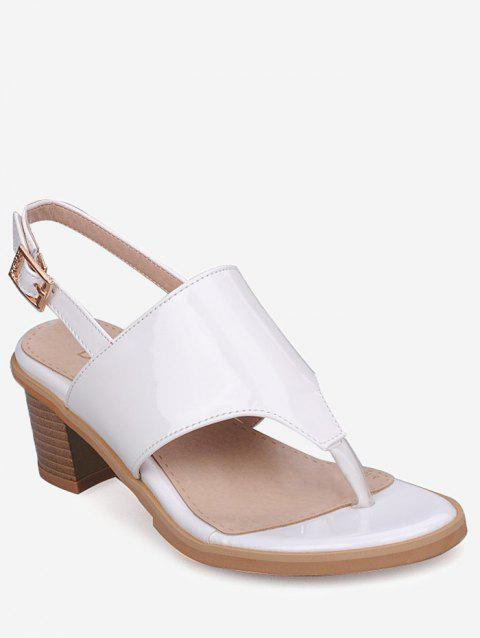 Plus Size Block Heel Chic Buckled Slingback Sandals - WHITE 43