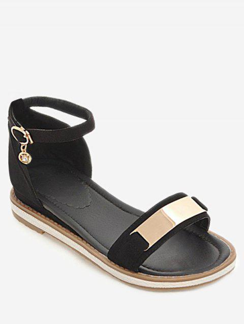 Plus Size Ankle Strap Buckled Leisure Vacation Sandals - BLACK 38