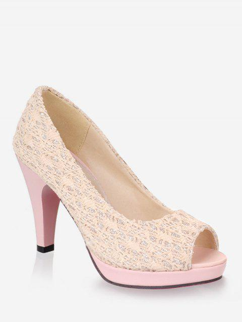 Plus Size Peep Toe Cone Heel Party Pumps - BEIGE 40