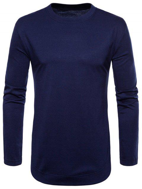 Curved Seam Hem Solid Color Casaul T-Shirt