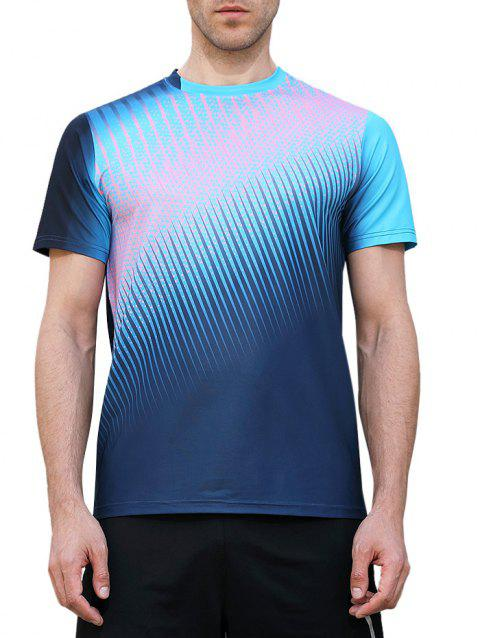 Quick Dry Triangle Print Sports T-shirt - BLUE JAY M