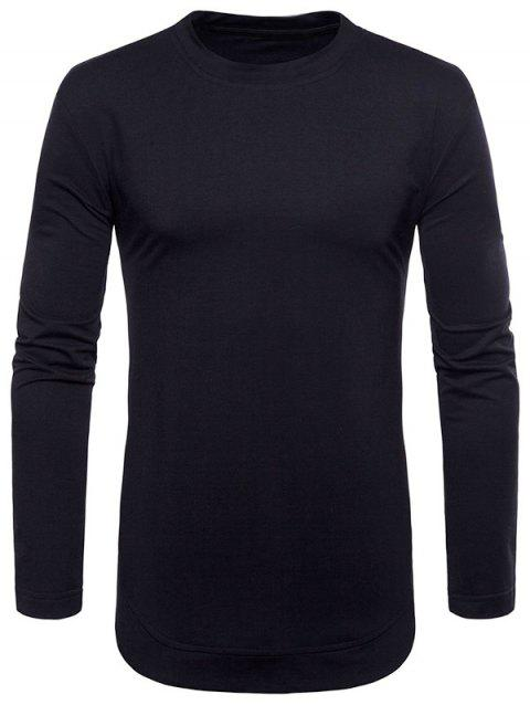 Curved Seam Hem Solid Color Casaul T-Shirt - BLACK 2XL