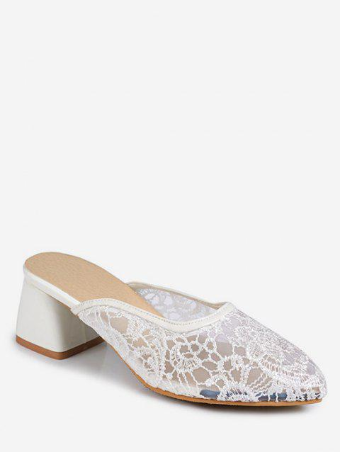 Plus Size Leisure Block Heel Pointed Toe Slide Sandals - WHITE 42