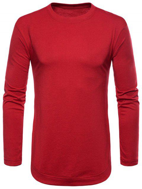 Curved Seam Hem Solid Color Casaul T-Shirt - RED L