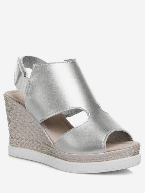 Plus Size Peep Toe Espadrille Casual Wedge Heel Sandals - SILVER 41