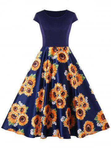 Sunflower Print Cap Sleeve A Line Dress