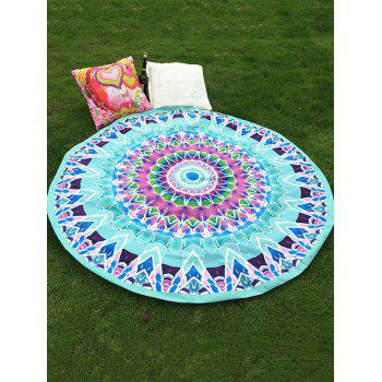 Ethnic Style Bikini Boho Swimwear Geometry Totem Mint Green Soft Grass Mat Satin Round Beach Throw Scarf