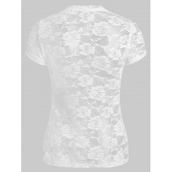 Lace See Thru T-shirt - WHITE XL