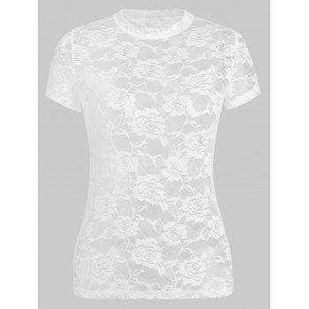 Lace See Thru T-shirt - WHITE L