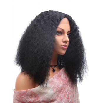 Center Parting Medium Corn Hot Curly Lace Front Synthetic Wig - BLACK