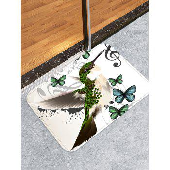 Bird and Butterflies Pattern Anti-skid Flannel Rug - WHITE W16 INCH * L24 INCH