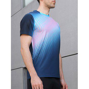 Quick Dry Triangle Print Sports T-shirt - BLUE JAY XL
