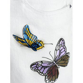 Denim Butterfly Print Shorts - WHITE XL