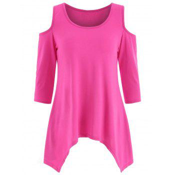 Asymmetrical Cold Shoulder T-shirt - DEEP PINK M