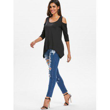 Asymmetrical Cold Shoulder T-shirt - BLACK S
