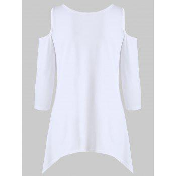 Asymmetrical Cold Shoulder T-shirt - WHITE S
